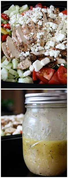 Greek Salad with Grilled Chicken - I never get tired of this one! One of my all-time favorite salads. And the dressing works as a marinade too!