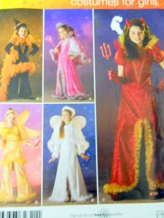 Simplicity Sewing Pattern 0518 Girls Costume Dress Pants Capes Hat Headband 3-6 #Simplicity