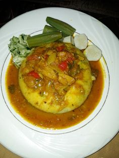Cou Cou is a traditional dish in Barbados passed down through many generations, it's part of our culture. Cou-Cou is made with corn meal and okra, on the side is Flying Fish, Red Herring or Saltfish. Indian Food Recipes, Vegetarian Recipes, Cooking Recipes, Ethnic Recipes, Barbados, Bajan Recipe, Caribbean Recipes, Caribbean Food, Trinidadian Recipes