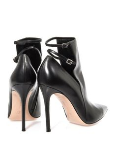 Gianvito Rossi Black Leather Ankle Strap Detail Boots €695 Fall Winter 2013 #Shoes #Heels #Booties