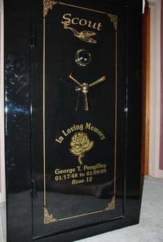 Decals applied to a gun safe