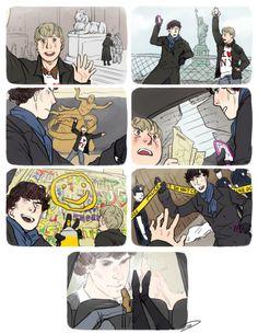 Sherlock & John trying to out-selfie each other (Johnlock)