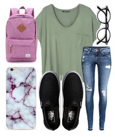 """""""School outfit✌"""" by jadenriley21 on Polyvore featuring MANGO, H&M, Vans and Herschel Supply Co."""