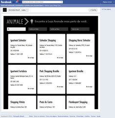 Aba - Lojas Animale - Mashup Google Maps - Visão listagem de lojas - Todas Lojas.