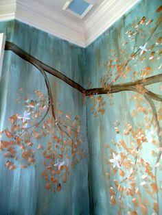 Tree mural  www.kevynteriors.com Interior Rendering, Interior Design, Tree Wall Murals, Bedroom Murals, Mural Ideas, Custom Canvas, Canvas Artwork, Art For Kids, Art Projects