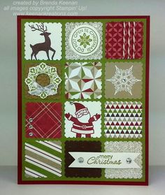 "Cute ""Merry Christmas"" Card...using SU postage stamp punch. By Brenda Keenan: Keenan Kreations."