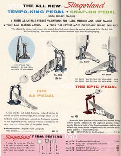 1967 catalog page for Slingerland bass drum pedals
