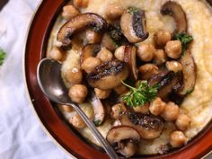 Chickpea and Baby Portobello Mushroom Marsala Over Creamy Polenta