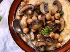 Chickpea and Baby Portobello Mushroom Marsala Over Creamy Polenta