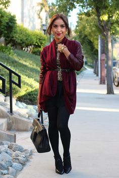 Petite fashion bloggers :: Dulce Candy :: Burgundy Cardigan