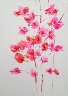 Watercolour painting of bougainvillea.