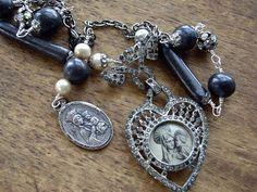 Antique Assemblage Necklace Heart Shaped Watch Case Antique