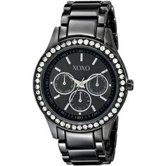 XOXO  Gun-metal Bracelet With Rhinestones Accent Watch ($17) ❤ liked on Polyvore featuring jewelry, bracelets, rhinestone bangles, bezel jewelry, gun metal jewelry, gunmetal jewelry and rhinestone jewelry