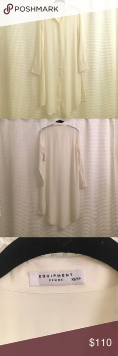 Equipment Pascal Silk Tunic Equipment Pascal Silk tunic in Nature White, size extra small. (I would say this fits more like a small.) Hidden buttons down front as well on both sides of shirt under the armpits. This tunic would look so amazing and chic with leather leggings! Never worn, tags attached, smoke free home. 100% Silk. Final photo is a stock photo. Currently at Neiman for $160! Equipment Tops Tunics