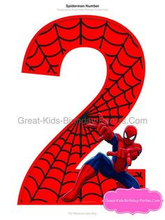 Happy Birthday Signs, Birthday Messages, Spider Clipart, Naruto Birthday, Spiderman Theme, Birthday Party Centerpieces, Printable Numbers, Number 2, 2nd Birthday Parties