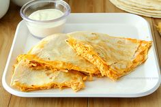 Buffalo Chicken Dip Quesadillas - a budget friendly way to eat dip for dinner | www.chocolatemoosey.com