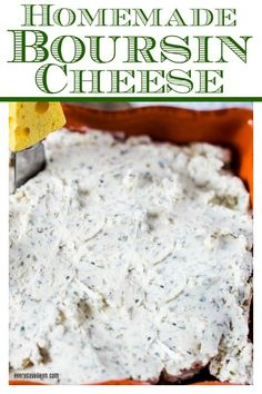 Homemade Boursin Cheese, a delicious homemade version of the pricey store made Boursin cheese, affordable and so full of flavor from fresh garlic and herbs. via everydayeileen Cheese Recipes, Cooking Recipes, Appetizer Recipes, Boursin Recipes, Party Recipes, Easy Cooking, Healthy Recipes, Cheese, Gourmet