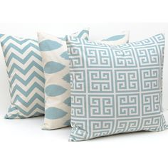 Pillows Pillow Cover Throw Pillow Covers Village Blue on Natural Greek... (568.730 IDR) ❤ liked on Polyvore featuring home, home decor, home & living, home décor, silver, chevron home decor, ikat home decor, blue home decor, greek key home decor and blue home accessories