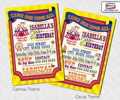 Carnival or Circus Party Invitations - DIY File