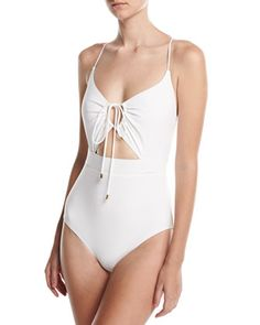 Front-Tie+Solid+One-Piece+Swimsuit+by+Michael+Kors+at+Neiman+Marcus.