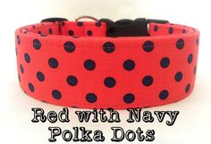 Polka Dot Dog Collar- Navy  Red