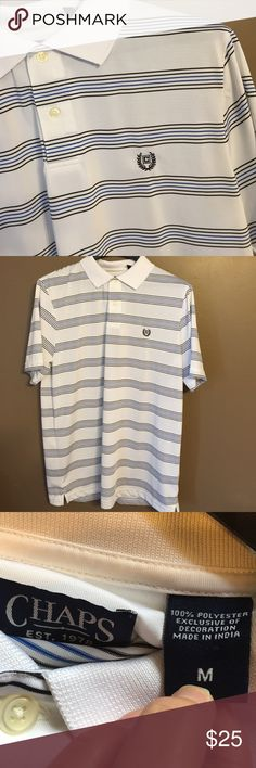 CHAPS Polo Shirt White with blue and black pinstripes. Excellent condition!! Medium but also fits a smaller size large. Chaps Shirts Polos