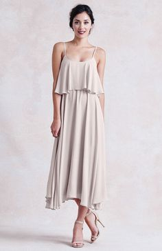 We love this nude, latte bridesmaids dress from Paper Crown // Britton Dress