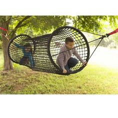 Black Rope-Net Tunnel / Bridge For Kids Outdoor Play, Black - Hearthsong Kids Outdoor Play, Backyard For Kids, Outdoor Fun, Outdoor Jungle Gym, Backyard Play Areas, Small Yard Kids, Outdoor Forts, Backyard Jungle Gym, Outdoor Playhouses