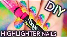 DIY Sparkly Highlighter Rainbow nails!!! - YouTube