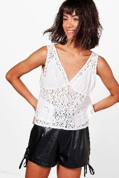 #boohoo Lace Panel Woven Swing Cami - ivory DZZ51081 #Hollie Lace Panel Woven Swing Cami - ivory