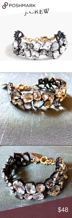 """NWT J Crew Double Strand Crystal Bracelet J Crew Double Strand Crystal Bracelet NWT $48 This double-strand crystal bracelet is the """"!"""" on any outfit.  Spring ring closure. Brass casting, glass stones. Light gold ox and black plating. Import. Select stores. J. Crew Jewelry Bracelets"""