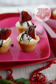 Chocolate Covered Strawberry Sugar Cookie Cups, such an easy dessert idea and yummy recipe!