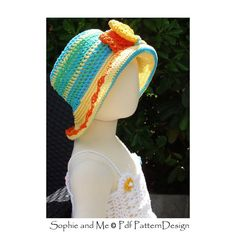 Sun Hat with Bow or Flowers- Baby to Adult sizes - Crochet Pattern - Instant…