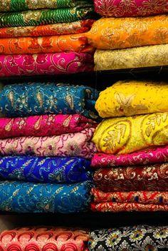 Framed Colorful Sari Shop in Old Delhi market, Delhi, India Print