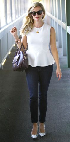 October 5, 2014 - Reese Witherspoon with Salvatore Ferragamo Fiamma bag
