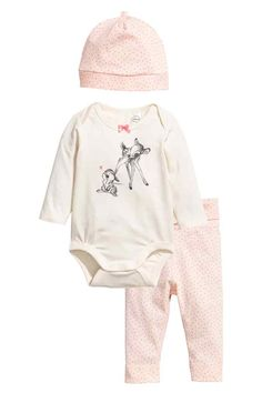 3-piece jersey set - Powder pink/Bambi - | H&M 1
