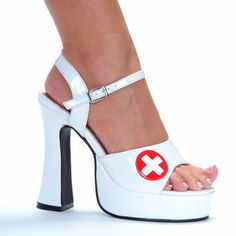 5 Inch Chunky Heel White Womens Nurse Costume Shoes with Red Cross come in a eye catching solid white color with accenting red medical cross on the toe strap to accessorize womens nurse, RN, and Doctor Halloween and Party costumes. Sexy Boots, Sexy Heels, All White Shoes, Nurse Costume, Chunky Heels, Wedge Shoes, Wedge Sandals, Women's Shoes, Younique