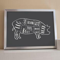 A3 Set of 4 Butcher Prints butcher chart butcher by OldEnglishCo