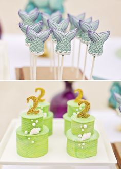 Cake pops y mini-tartas impresionantes para una fiesta mar o una fiesta sirena!! / Amazing cake pops and mini-cakes for an Under-the-sea party or mermaid party!