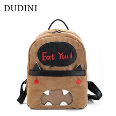 DUDINI Fashion New Style Backpack PU Leather Lovely Cartoon Pattern School Bags Personality Casual Solid Color Backpack Women