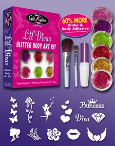 Glitter tattoo kit on sale 60 more glitter body adhesive lil divas is a do it yourself dyi glitter tattoo kit that includes 6 solutioingenieria Gallery