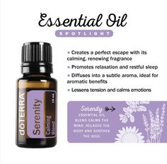 Serenity essential oil blend calms the mind, relaxes the body, and soothes the soul, providing a safe haven from life's daily stressors. The essential oils in this must-have blend were meticulously chosen to lessen tension, calm emotions, and leave a peaceful feeling. Serenity is the perfect blend to diffuse at bedtime for a restful night's sleep, to calm a restless baby or child, or to help reduce the tension and stress so many of us feel.