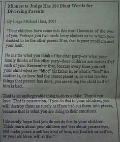 Love your child, respect your child's other parent. Life isn't you vs your child's other parent, it's your child's life. Put their needs first (sometimes that need is for their biological parents not to be together) but never use custody as a weapon. Your child only gets 1 life, give it the best one you can, with love, so much love. Love comes in many forms, from many people. Allow your child to be loved, to give love. Parent responsibility, whether or not you are with your child's other…