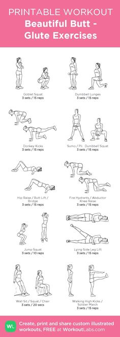 Gym & Entraînement : Beautiful Butt Glute Exercises: my visual workout created at WorkoutLabs.com