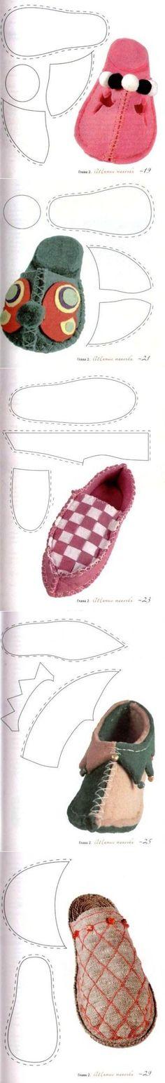 Несколько выкроек для тапочек - Рукоделие | Вязаные носочки, тапочки | Постила