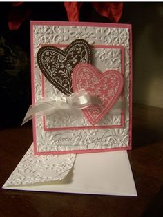 Stunning Embossed Double Hearts Card...