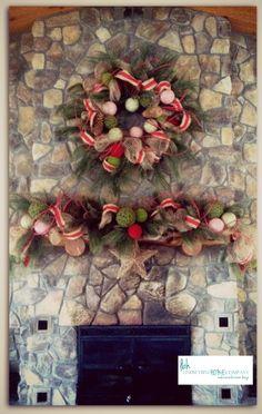 www.lindseybinzhome.com, Burlap Ribbon, Pine Garland Wreath, Pine Garland Mantle, Christmas Decor