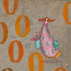 """Gaëlle Boissonnard square card (14 cm) """"La fille et son sac de coeurs"""""""