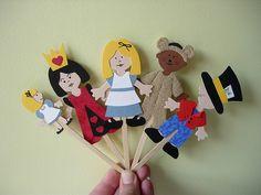 """Wonderland"" stick puppets by maximum RABBIT designs, via Flickr"