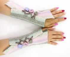 Pastel striped arm warmers fingerless gloves pink by piabarile, $25.00